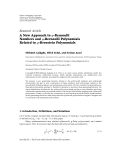 "Báo cáo hóa học: "" Research Article A New Approach to q-Bernoulli Numbers and q-Bernoulli Polynomials Related to q-Bernstein Polynomials"""