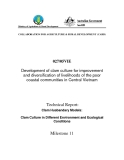 Project Progress Report:Development of clam culture for improvement and diversification of livelihoods of the poor coastal communities in Central Vietnam - Milestone 11 ""