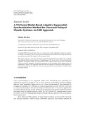 "Báo cáo hóa học: ""   Research Article A T-S Fuzzy Model-Based Adaptive Exponential Synchronization Method for Uncertain """