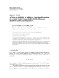 "Báo cáo hóa học: ""  Research Article A Note on Stability of a Linear Functional Equation of Second Order Connected with the Fibonacci Numbers and Lucas Sequences"""