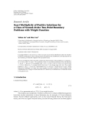 "báo cáo hóa học:"" Research Article Exact Multiplicity of Positive Solutions for a Class of Second-Order Two-Point Boundary Problems with Weight Function"""