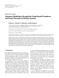 "Báo cáo sinh học: "" Research Article Automatic Modulation Recognition Using Wavelet Transform and Neural Networks in Wireless Systems"""