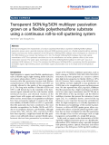 """báo cáo hóa học:"""" Transparent SiON/Ag/SiON multilayer passivation grown on a flexible polyethersulfone substrate using a continuous roll-to-roll sputtering system"""""""