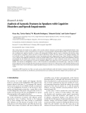 "Báo cáo hóa học: "" Research Article Analysis of Acoustic Features in Speakers with Cognitive Disorders and Speech Impairments"""