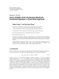 "Báo cáo hóa học: "" Research Article Fuzzy Stability of the Pexiderized Quadratic Functional Equation: A Fixed Point Approach"""