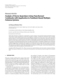 "Báo cáo hóa học: ""Research Article Analysis of Vector Quantizers Using Transformed Codebooks with Application to Feedback-Based Multiple Antenna Systems"""