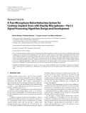 "Báo cáo hóa học: ""  Research Article A Two-Microphone Noise Reduction System for Cochlear Implant Users with Nearby Microphones—Part I: Signal Processing Algorithm Design and Development"""
