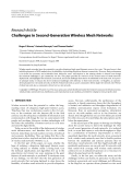 """Báo cáo hóa học: """"  Research Article Challenges in Second-Generation Wireless Mesh Networks"""""""