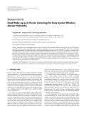 "Báo cáo hóa học: ""Research Article Dual Wake-up Low Power Listening for Duty Cycled Wireless Sensor Networks"""