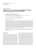 "Báo cáo hóa học: ""Research Article Performance Analysis of Novel Randomly Shifted Certification Authority Authentication Protocol for MANETs"""