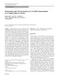 """Báo cáo hóa học: """"  Preparation and Characterization of a Lecithin Nanoemulsion as a Topical Delivery System"""""""