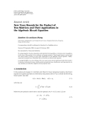 "Báo cáo hóa học: ""  Research Article New Trace Bounds for the Product of Two Matrices and Their Applications in the Algebraic Riccati Equation"""