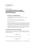 "Báo cáo hóa học: ""  Research Article A Generalized Wirtinger's Inequality with Applications to a Class of Ordinary Differential Equations"""