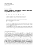 "Báo cáo hóa học: ""  Research Article On the Stability of Generalized Additive Functional Inequalities in Banach Spaces"""