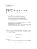 "Báo cáo hóa học: "" Research Article Fixed Points and Stability of a Generalized Quadratic Functional Equation"""
