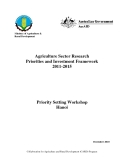 "Báo cáo nghiên cứu nông nghiệp "" Agriculture Sector Research Priorities and Investment Framework 2011-2015 """