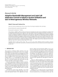 "Báo cáo hóa học: ""  Research Article Adaptive Bandwidth Management and Joint Call Admission Control to Enhance System Utilization and QoS in Heterogeneous Wireless Networks"""