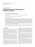 "Báo cáo hóa học: ""  Research Article An Analysis Framework for Mobility Metrics in Mobile Ad Hoc Networks"""