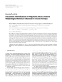 "Báo cáo hóa học: "" Research Article Instrument Identification in Polyphonic Music: Feature Weighting to Minimize Influence of Sound Overlaps"""