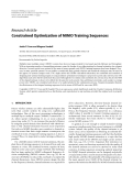 """Báo cáo hóa học: """" Research Article Constrained Optimization of MIMO Training Sequences"""""""