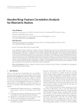 "Báo cáo hóa học: "" Handwriting: Feature Correlation Analysis for Biometric Hashes"""