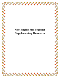New English File Beginner Supplementary Resources