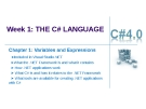 Week 1: THE C# LANGUAGE