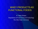 Whey Products as Functional Foods