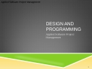 Applied Software Project Management - DESIGN AND PROGRAMMING