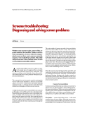 Screener troubleshooting: Diagnosing and solving screen problems
