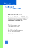 A Foundation for Health Reform:  Findings of a 50 State Survey of Eligibility Rules,  Enrollment and Renewal Procedures, and Cost- Sharing Practices in Medicaid and CHIP for  Children and Parents During 2009