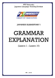 JAPANESE ELEMENTARY I  GRAMMAR EXPLANATION (Lesson 1 – Lesson 10)