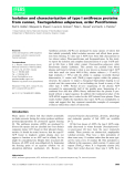 Báo cáo khoa hoc : Isolation and characterization of type I antifreeze proteins from cunner,Tautogolabrus adspersus, order Perciformes