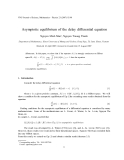 "Báo cáo "" Asymptotic equilibrium of the delay differential equation """