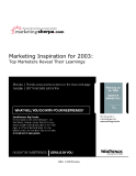 marketing sherpa comPractical Know-How and Case Studies Marketing Inspiration for 2003
