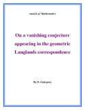 "Đề tài "" On a vanishing conjecture appearing in the geometric Langlands correspondence """