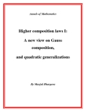 "Đề tài "" Higher composition laws I: A new view on Gauss composition, and quadratic generalizations """