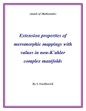 "Đề tài "" Extension properties of meromorphic mappings with values in non-K¨ahler complex manifolds """