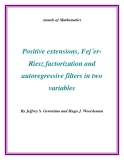 "Đề tài ""  Positive extensions, Fej´erRiesz factorization and autoregressive filters in two variables """
