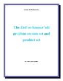 "Đề tài ""The Erd˝os-Szemer´edi problem on sum set and product set"""