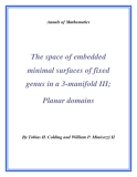 "Đề tài ""  The space of embedded minimal surfaces of fixed genus in a 3-manifold III; Planar domains """