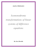 "Đề tài ""  Isomonodromy transformations of linear systems of difference equations"""