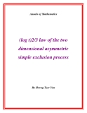 "Đề tài ""  (log t)2/3 law of the two dimensional asymmetric simple exclusion process """