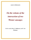 "Đề tài "" On the volume of the intersection of two Wiener sausages """
