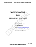BASIC GRAMMAR FOR SPEAKING ENGLISH