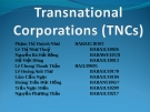 Transnational Corporations (TNCs)