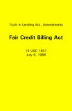 Truth in Lending Act, Amendments Fair Credit Billing Act