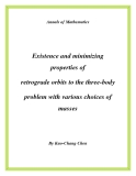 """Đề tài """" Existence and minimizing properties of retrograde orbits to the three-body problem with various choices of masses """""""