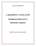 "Đề tài "" A quantitative version of the idempotent theorem in harmonic analysis """