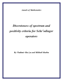 "Đề tài "" Discreteness of spectrum and positivity criteria for Schr¨odinger operators """